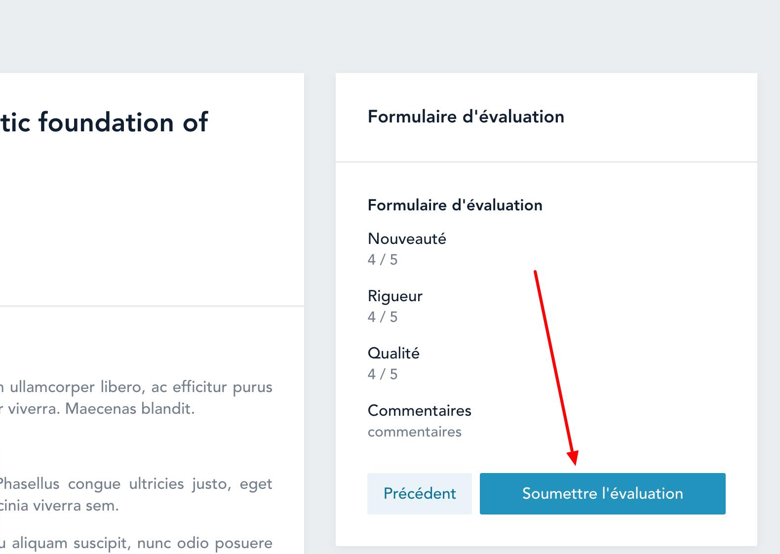 Enfin, les évaluateurs soumettent leur évaluation